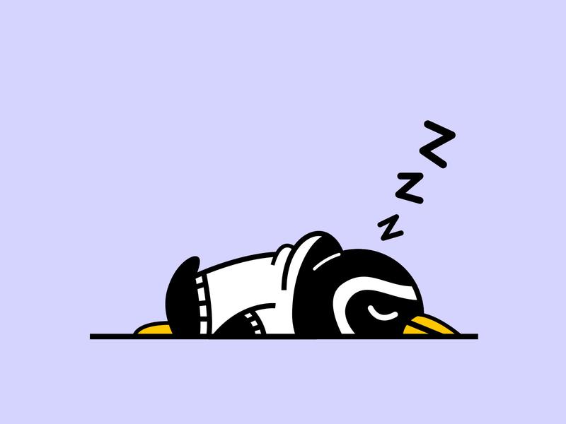 Penguin Nap patagonia japanese hoodie vector character design kawaii illustration sleep tired penguin nap