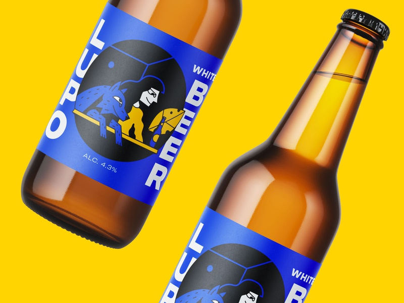 Lupo (wolf) Beer branding vector character illustration design label packaging girl dog share birra warmup beer white