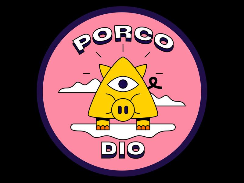 Porco Dio sky coaster expression italian italy pig god dio porco vector character design illustration