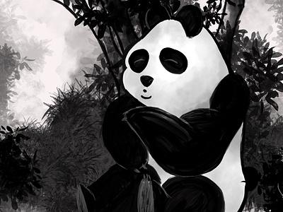 Panda in the Bambu field drawing concept comic book illustrator charachter design digital painting childrens book illustration children book comic art illustration