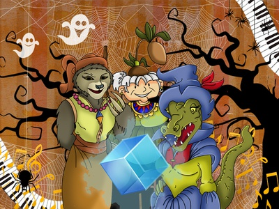 spooky02 colorful ghosts witches halloween digital painting children book childrens book illustration comic art illustration