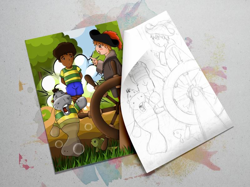 The morph boy sketchbook sketch cartoon illustration morphing digital painting colorful comic book childrens book illustration children book illustration comic art