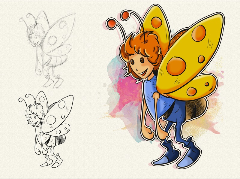 Butter - the butterfly girl adobe illustrator adobe photoshop ipadproart ipadpro butterfly concept charachter design digital painting cute colorful comic book childrens book illustration children book illustration comic art