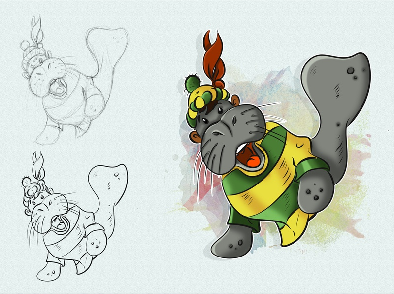 Totyr the Manatee illustrator colorful comic book comic art drawing concept charachter design digital painting childrens book illustration children book illustration