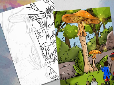 The Land of the Magic Mushrooms illustrator ipadpro drawing concept digital painting colorful comic book childrens book illustration children book illustration comic art