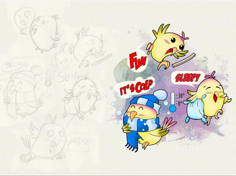 ChiChi the Lovebird (emojis study) bird illustration character emoticon emojis illustrator drawing charachter design concept digital painting colorful comic book childrens book illustration children book illustration comic art