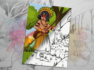 Indigenous Princess indigenous illustrator drawing charachter design concept digital painting colorful comic book childrens book illustration children book illustration comic art