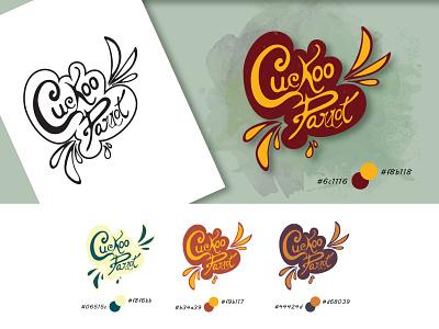 Cuckoo Parrot Logo unique lettering illustration design typography branding vector logo design logotype logo