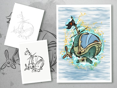 Time Machine drawing charachter design concept digital painting colorful comic book childrens book illustration children book comic art illustration
