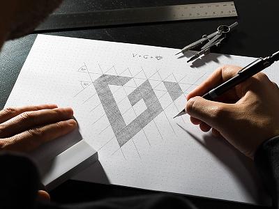 VG Logo sketch diamond glyph logo vg