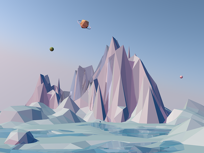 Low Poly Ice Mountain cold sky modeling lowpoly planet sea 3d ice mountain c4d