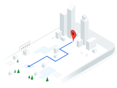 Google Maps API homepage illustration pin town isometric google maps