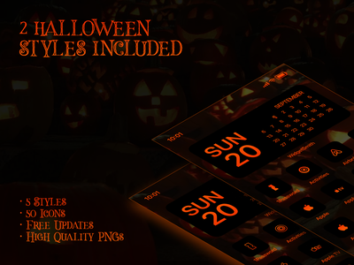 iOS 14 Flat Icon Pack - 2 Halloween Special Styles shortcuts ios shortcuts halloween pumpkin green ui iconset solid outline flat icons ios14 creativemarket