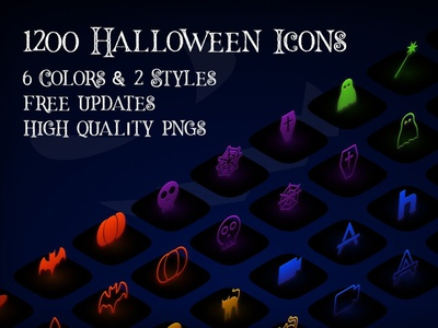iOS14 Halloween Icons with 6 Colors