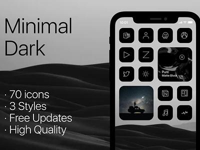 Minimal Dark&Blue&Light Icons for iOS14 ios ios14homescreen homescreen ux design iconset vector ui ios14 creativemarket