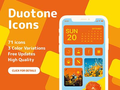Duotone Icons for iOS14 - Orange creativemarket ios14 ui vector iconset design ux homescreen ios14homescreen ios