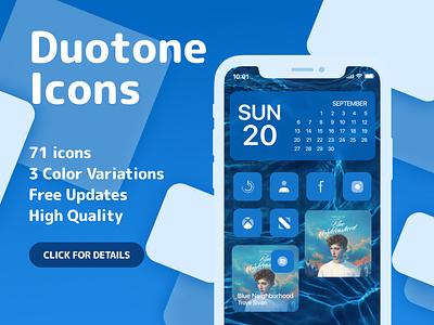 Duotone Icons for iOS14 - Blue creativemarket ios14 ui vector iconset design ux homescreen ios14homescreen ios