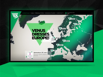 Venus Wear Company Website green triangles lowpoly abstract corporate website design vertical scroll