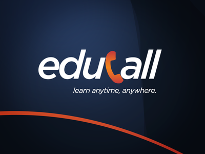 Educall Logo Design education foreign language phonecall learning orange dark blue