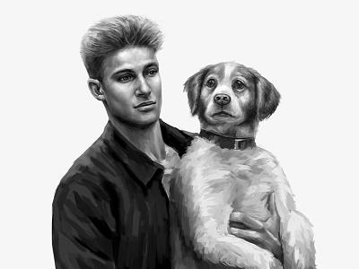 Daily Sketches 9 dog painting man digital arts