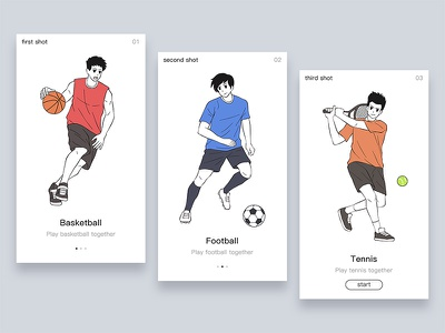 use of Illustrations - for app 1 tennis football basketball