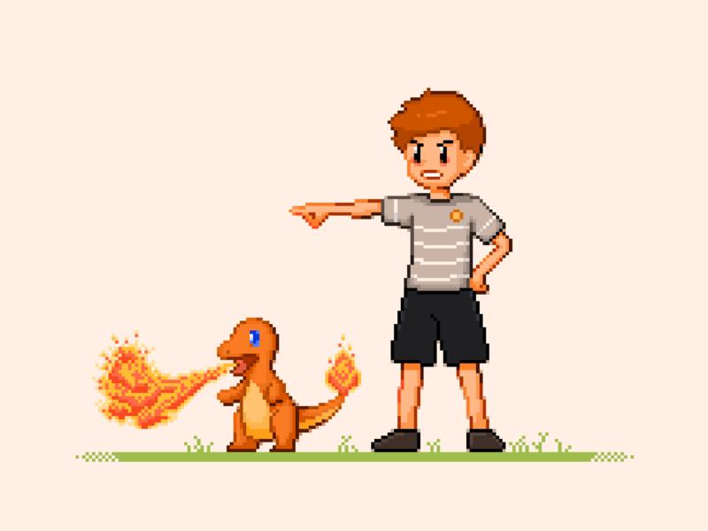 Pokemon Trainer pixel pokemon pixel art painting illustration