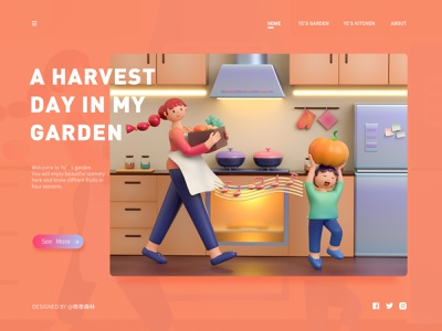 3D illustration-Ye's kitchen garden login design illustration c4d
