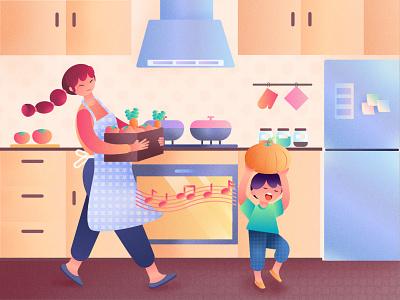 Ye'garden illustration kitchen child illustraion design illustration garden