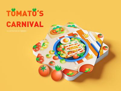 tomato's carnival  Ye's kitchen food tomato ui kitchen design c4d illustration