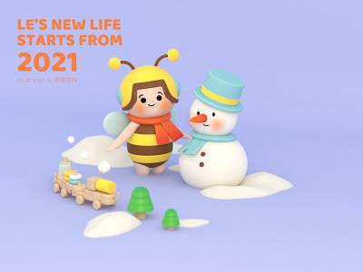 Le's new life——winter winter ui c4d illustration