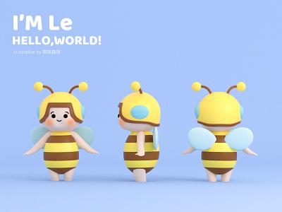 Hello,world ip bee graphic design 3d c4d illustration