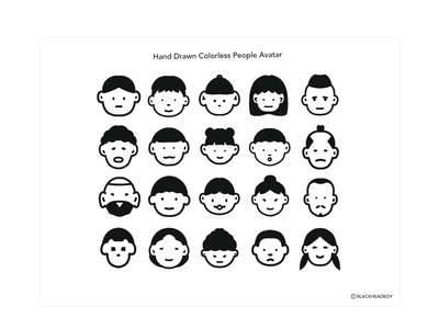 Hand Drawn Colorless People Avatar brand identity character clean brand avatar peopele hand drawn drawing procreate illustration