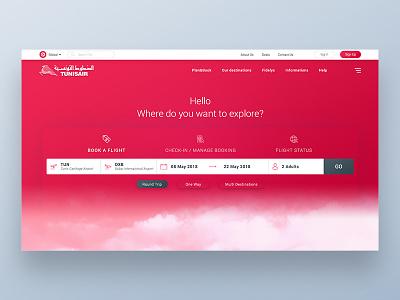 Tunisair Airlines Web Site Concept search ux ui airplane web design landing ui design tunisair booking airways flight airlines
