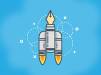 Pen Rocket Ship Illustration in Adobe Illustrator