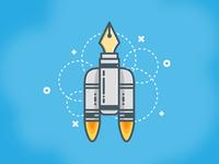 Pen Rocket Ship Illustration in Adobe Illustrator