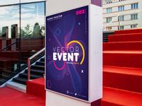 Neon Abstract Poster Design in Adobe Illustrator