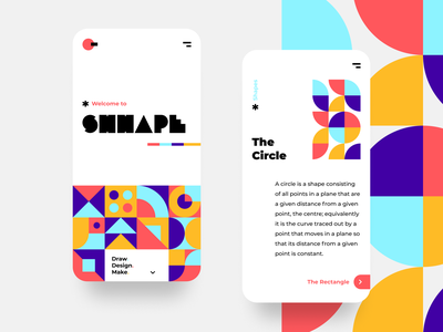 SHHAPE mobile bold swiss style exploration clean layout typography vector shapes pattern geometric shapes mobile ui