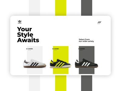 Adidas Shoes Concept Design swiss style bold type list page single page menu negative space clean typography ecommerce product design ux ui design ui