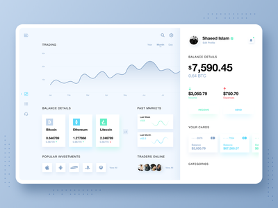 Trading Desktop Dashboard Concept stock market sell buy wallet trading desktop app clean design crypto wallet cryptocurrency graphs investments dashboad finance