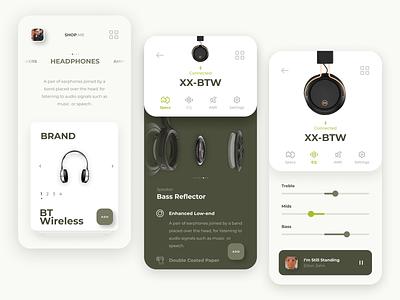 Headphones Product App Concept cards carousel music ux parts specs remote control headphones product app mobile app ui design ui product