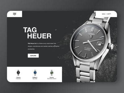 Watch Product Concept Design clean ui texture tag heuer clean professional single product ecommerce ui desktop watches watch