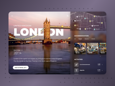 Travel Cities Concept Design weather united states united kingdom uxdesign uidesing typography travel app travel sydney masking map los angeles london lax hotels desktop cards ui card australia