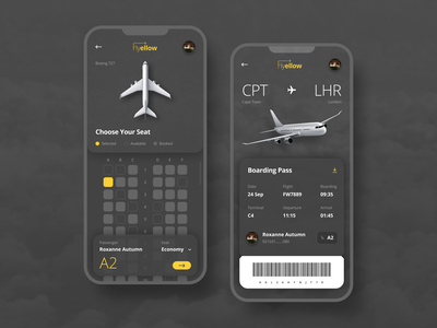 Flight Booking Concept Mobile App flight airplane choose your seat boarding pass texture mobile app flight booking app flight app booking app uxdesign uidesign