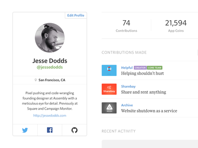 Assembly — User Profile assembly asm minimalist product profile avatar location stats