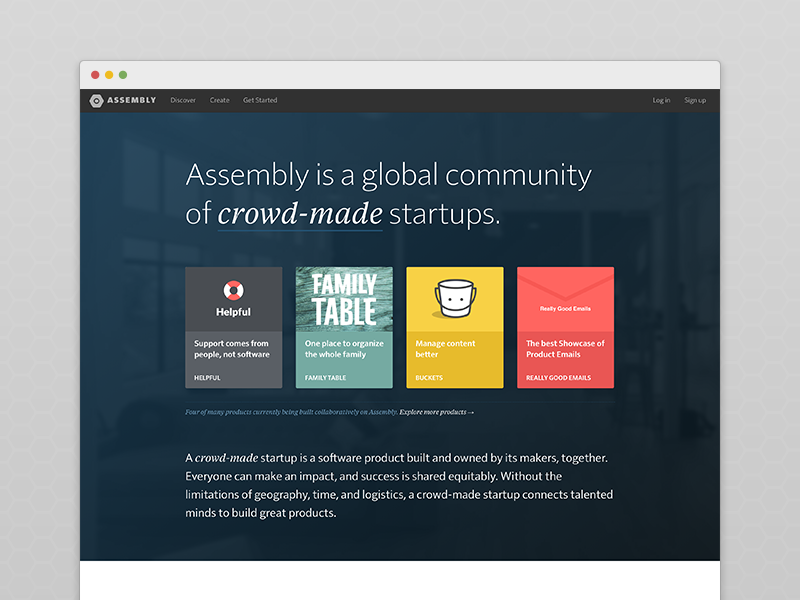 Assembly — New Landing Page assembly makers build open source collaboration home landing