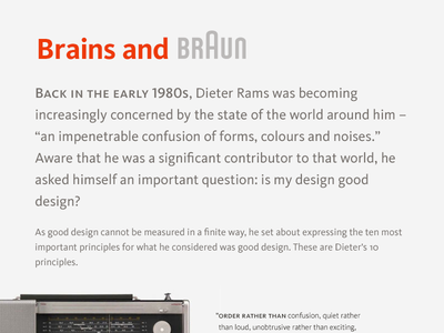 Brains and Braun braun typography kievit dieter rams