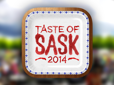 Taste of Sask iPhone App Icon app icon ios icon icons app food ketchup paper texture mobile realistic skeuomorphic