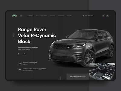 Range Rover Velar - Page Concept website landing clean ui vehicle car land rover range rover velar dark creative web inspiration ux ui design