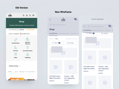 CBD Shop - UX page improvement ux review ecommerce shop cbd wireframe creative mobile application inspiration ux ui design