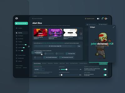 Streamlabs Platform - UI UX Design black green blue streaming streamlabs dashboard crm platform page dark theme inspiration application creative web ui ux design